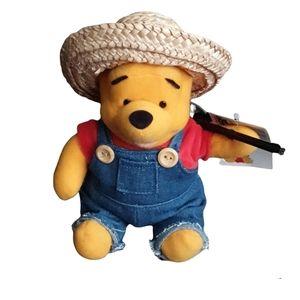 Disney's Winnie The Pooh Bear Farmer Plush Toy - NEW WITH TAG